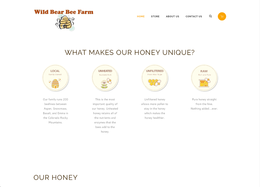 Wild Bear Bee Farm, Local Raw Honey - Custom E-Commerce Website